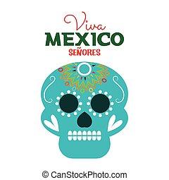 day of dead skull mexico festive design