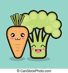 vegetables cartoon carrot and broccoli graphic isolated...