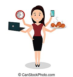 woman caroon many arms design graphic vector illustration...