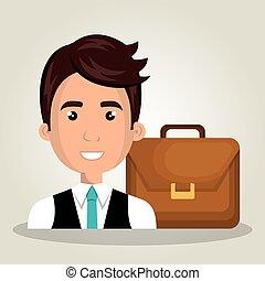 businessman portfolio suitcase work design isolated vector...