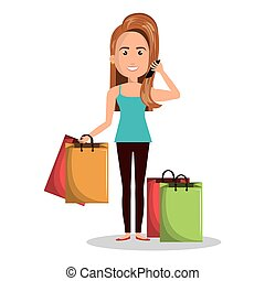 cartoon woman many bag gift shop graphic