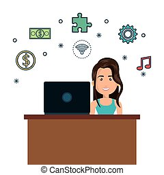 cartoon woman on desk and laptop media graphic
