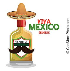 bottle tequila with hat and moustache mexico graphic vector...