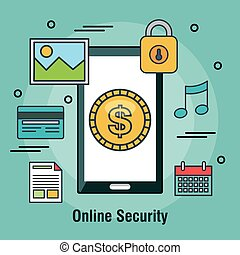 protecting online security internet shop design vector...