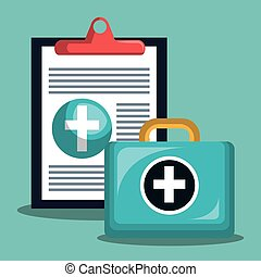chechklist medical first aid health vector illustration