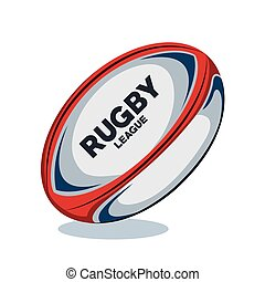 rugby ball red, white and blue design vector illustration...