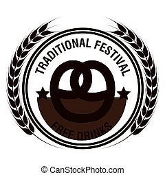 oktoberfest traditional festival emblem design vector...