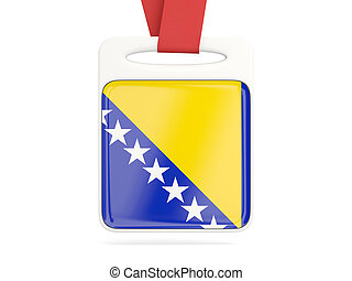 Flag of bosnia and herzegovina, square card with red ribbon....