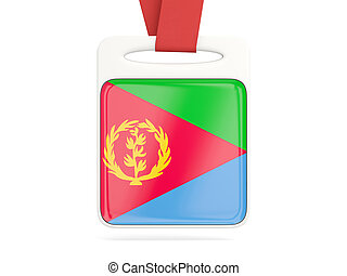 Flag of eritrea, square card with red ribbon. 3D...