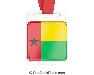 Flag of guinea bissau, square card with red ribbon. 3D...