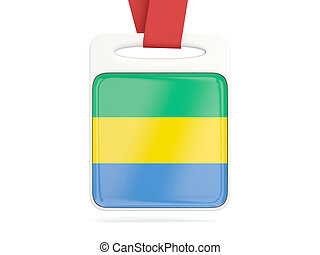 Flag of gabon, square card with red ribbon. 3D illustration
