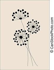 Wild flowers illustration - Wild flowers hand drawn...