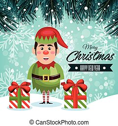 greeting christmas elf and gifts with snowfall design