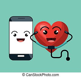cartoon heart and smartphone with sthetoscope isolated...