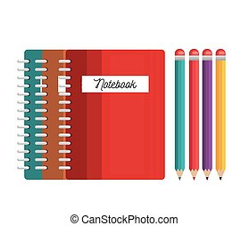 notebooks and pencils colored tools student graphic