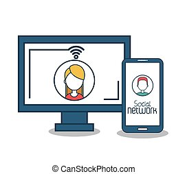 monitor and smart phone social media icons design