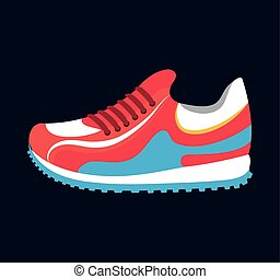 sneaker sport running icon black background isolated