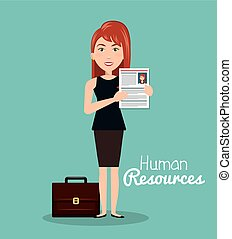 girl portfolio cv human resources vector illustration
