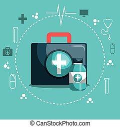 kit first aid and medicine bottle set service medical design...