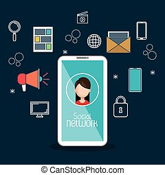 social media technology mobile blue background