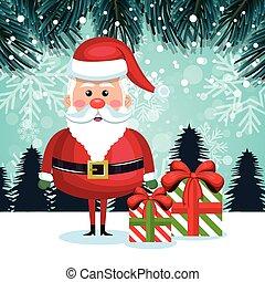 santa cartoon card gifts and snowfall design vector...