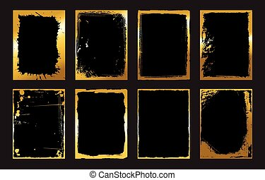 Set of Black and Gold Design Templates for Brochures, Flyers, Banners  Infographic. Abstract Modern Backgrounds.