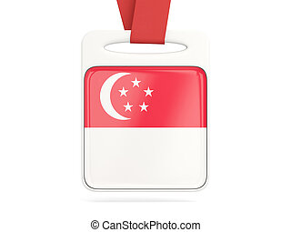 Flag of singapore, square card with red ribbon 3D...