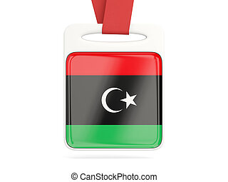 Flag of libya, square card with red ribbon 3D illustration
