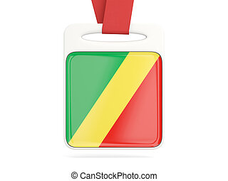 Flag of republic of the congo, square card with red ribbon....
