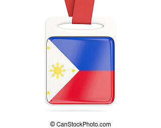 Flag of philippines, square card with red ribbon 3D...