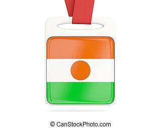 Flag of niger, square card with red ribbon 3D illustration