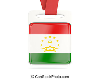Flag of tajikistan, square card with red ribbon. 3D...
