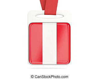 Flag of peru, square card with red ribbon 3D illustration