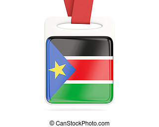 Flag of south sudan, square card with red ribbon. 3D...