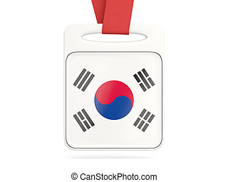 Flag of korea south, square card with red ribbon 3D...