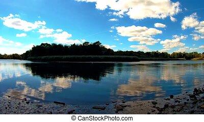 Cinemagraph. Summer nature forest lake landscape