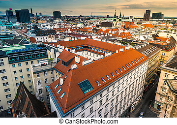 Aerial view over the rooftops of Vienna from the north tower...