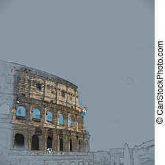 Colosseum, Rome - Colosseum Coliseum in Rome, Italy Vintage...