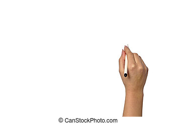 woman's hand with a pen writing on a white background - Hand...