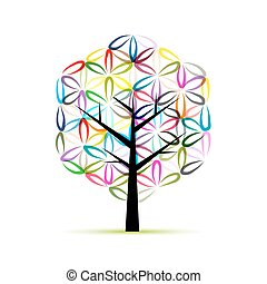 Flower of Life. Art tree, sketch for your design. Vector...