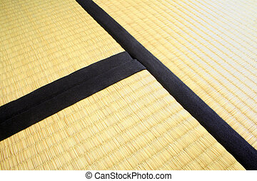 Detail of three Tatami Mats - Three Tatami mats. Thick and...