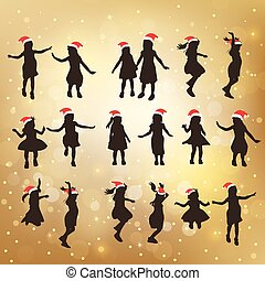 silhouette of cute girl jump - silhouette of christmas cute...