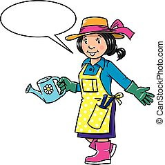 Funny woman gardener. Profession series. - Childrens vector...