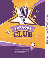 Karaoke party vector poster. Music karaoke club banner with...