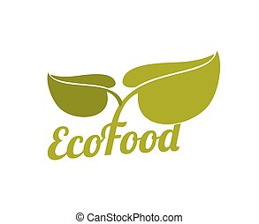 Green eco food logo with leaves