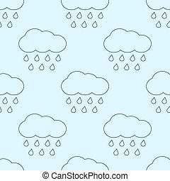 lluvioso, nubes, contorno, patrón,  seamless,  vector