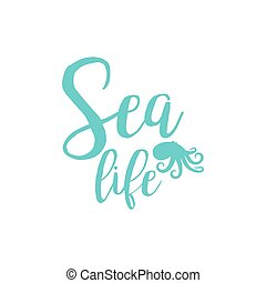 Octopus sea life lettering design isolated on white Vector...