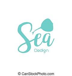 Skat sea lettering design isolated on white. Vector...