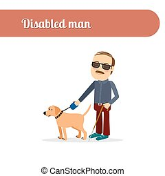 Blind man with dog - Disabled person vector icon Blind man...
