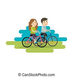 Active lifestyle people ride bicycles